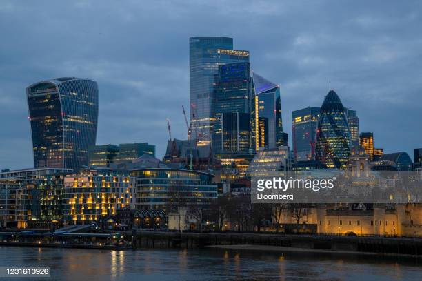 Skyscrapers in the skyline of the City of London, U.K., on Monday, March 8, 2021. Values in the U.K. Capital should jump about 25% over the next five...