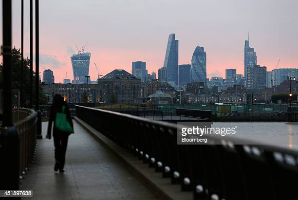 Skyscrapers including 20 Fenchurch Street also known as the 'WalkieTalkie' left the Leadenhall building also known as the 'Cheesegrater' center left...