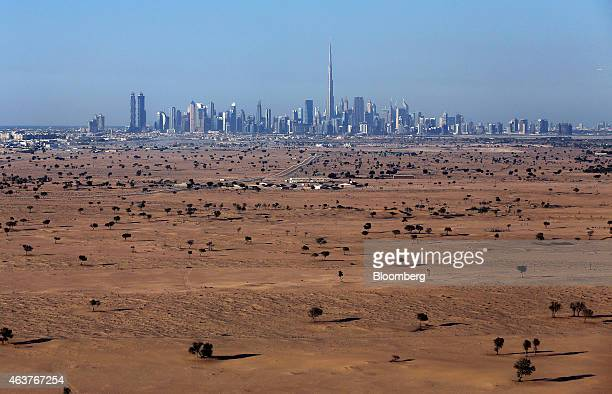 Skyscrapers including the Burj Khalifa tower center sit on the city skyline beyond an area of desert scrubland in Dubai United Arab Emirates on...