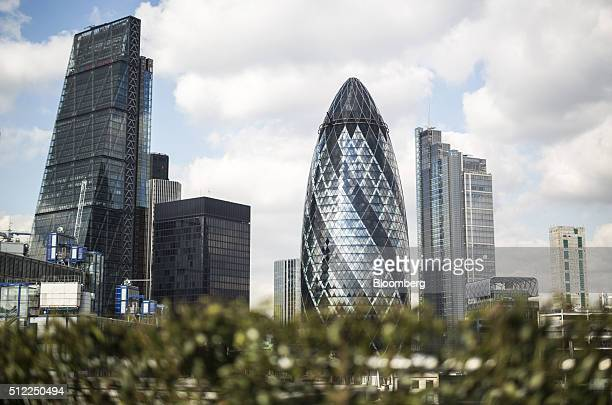 Skyscrapers including the Leadenhall building also known as the Cheesegrater left and 30 St Mary Axe also known as the Gherkin center and the Heron...