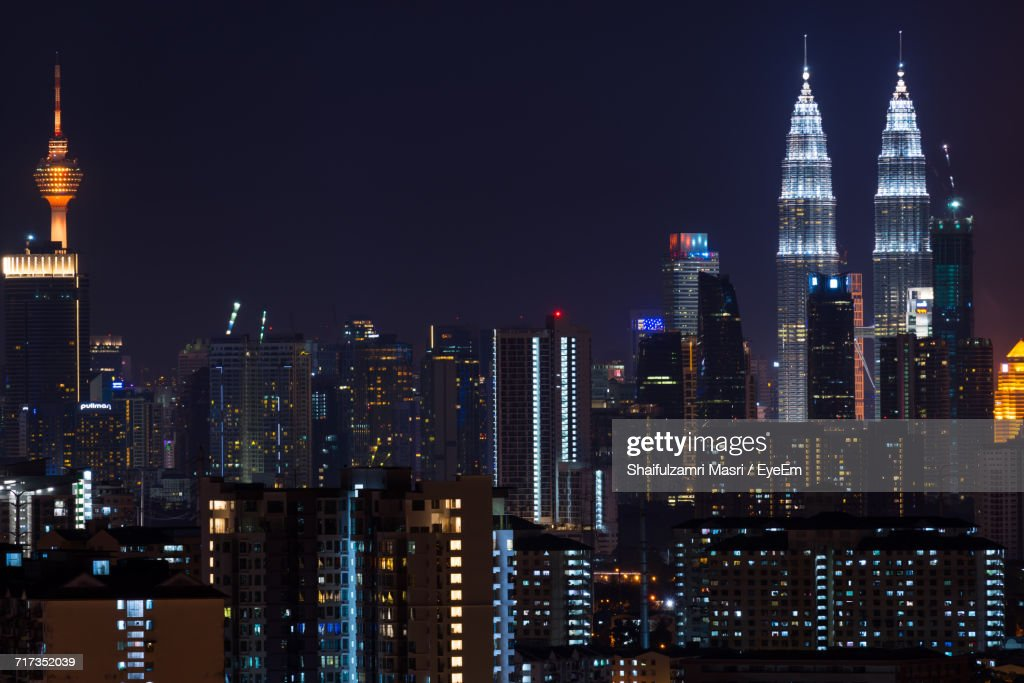 Skyscrapers Lit Up At Night : Stock Photo