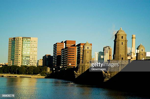 Skyscrapers near a bridge across a river, Longfellow Bridge, Charles River, Cambridge, Boston, Massachusetts, USA