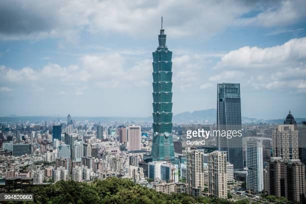 俯瞰視角下藍藍的天空,在臺灣省臺北市的現代化城市的摩天大樓 - taipei 101 個照片及圖片檔