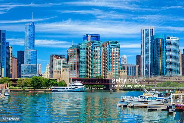 Skyscrapers of Chicago Illinois skyline,Lake Michigan,Chicago Ri