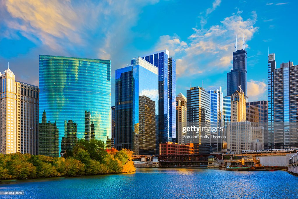 Skyscrapers of Chicago skyline at sunset,Chicago River,Ill : Stock Photo