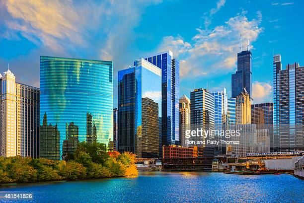 skyscrapers of chicago skyline at sunset,chicago river,ill - chicago river stock pictures, royalty-free photos & images