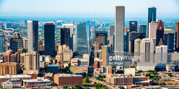 skyscrapers of downtown houston - houston stock pictures, royalty-free photos & images