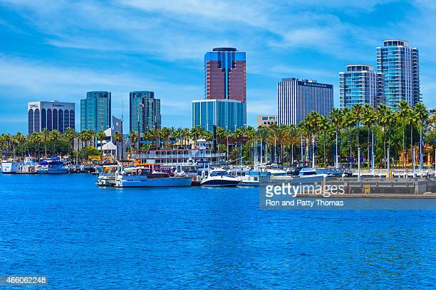 skyscrapers of long beach skyline,harbor,boats,clouds,california - long beach california stock photos and pictures