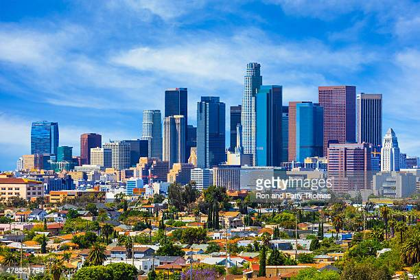 skyscrapers of los angeles skyline,architecture,urban,cityscape, - california stockfoto's en -beelden