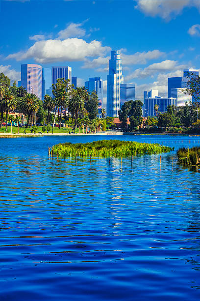 Skyscrapers Of Los Angeles Skyline,reflection,lake,water,archite Wall Art