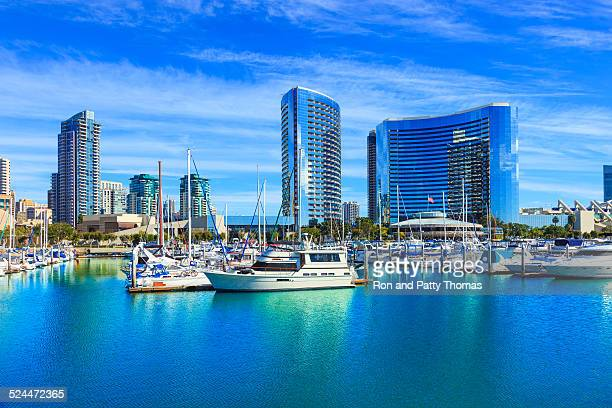 skyscrapers of san diego skyline waterfront and harbor, ca - california stockfoto's en -beelden