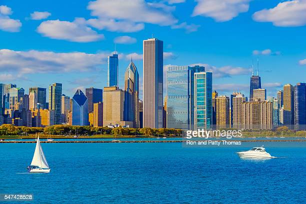 Skyscrapers of the Chicago skyline and Lake Michigan, Ill (P)