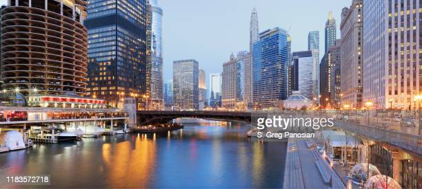 skyscrapers + river - chicago - chicago river stock pictures, royalty-free photos & images
