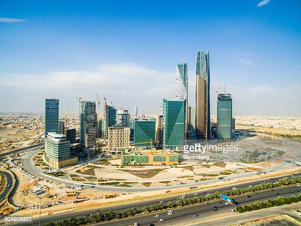 Skyscrapers stand in the King Abdullah financial district in Riyadh Saudi Arabia on Saturday Jan 9 2016 Saudi Arabian stocks led Gulf Arab markets...