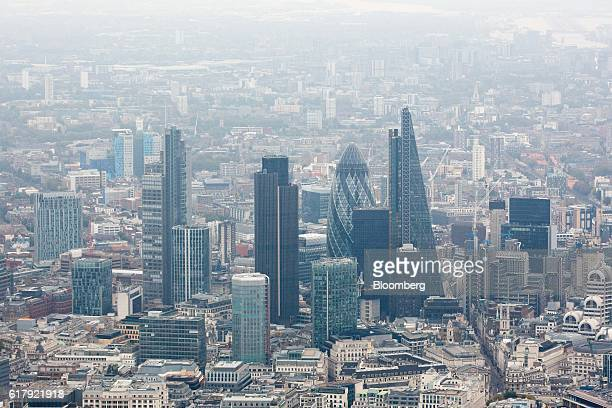 Skyscrapers stand in the square mile financial district in the City of London UK on Monday Oct 24 2016 London property is dropping in the pricegrowth...