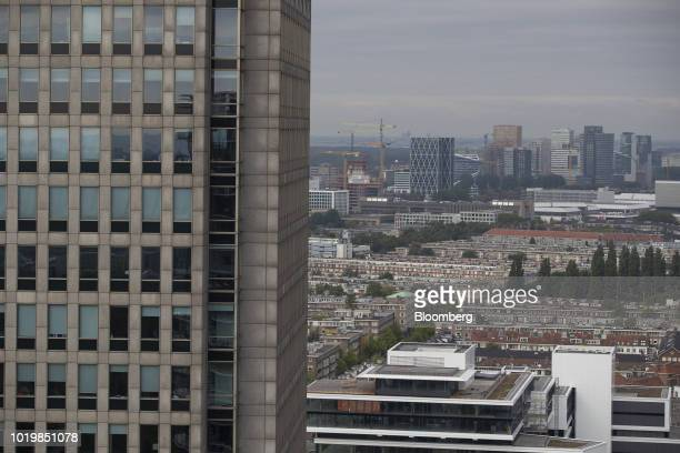 Skyscrapers stand on the skyline in the Zuidas financial district as seen from the Amstel Tower residential block in Amsterdam Netherlands on...