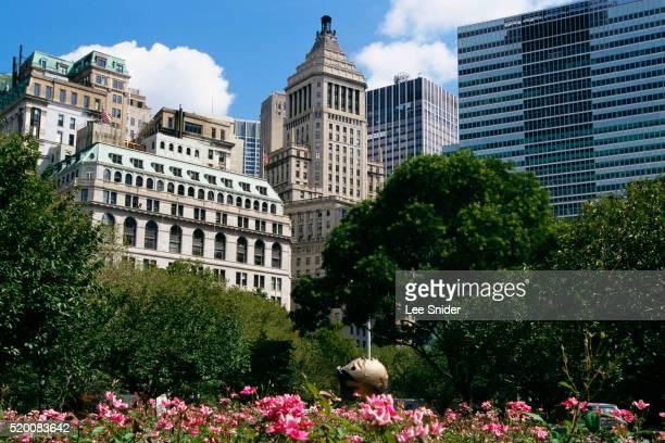 Skyscrapers Surrounding Peace Garden in Battery Park