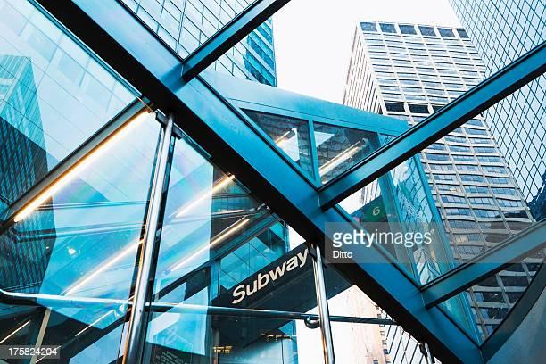 skyscrapers through subway entrance, new york city, usa - new york city subway stock pictures, royalty-free photos & images