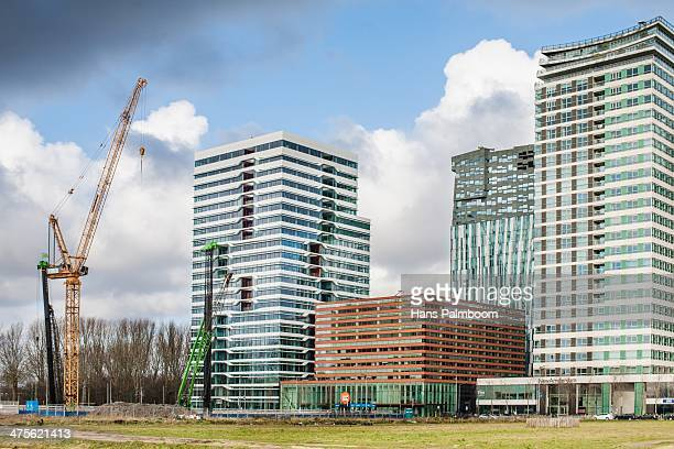 Skyscrapers under construction in the bussiness district of Amsterdam called Zuidas