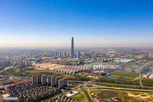 skyscrapers under construction - liyao xie stock pictures, royalty-free photos & images