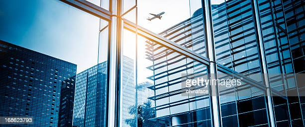 Skyscrapers with airplane