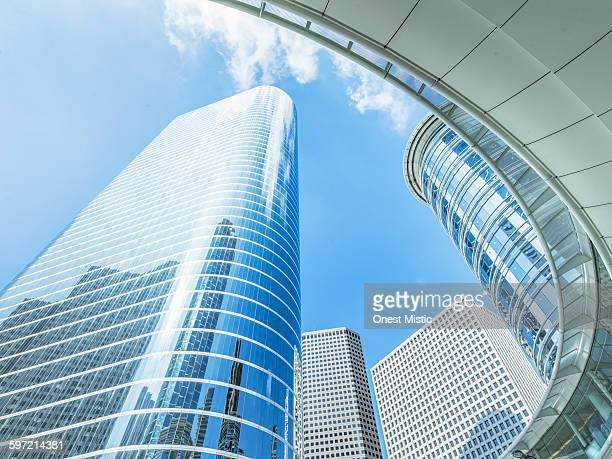 skyscrapers with blue sky background in Houston