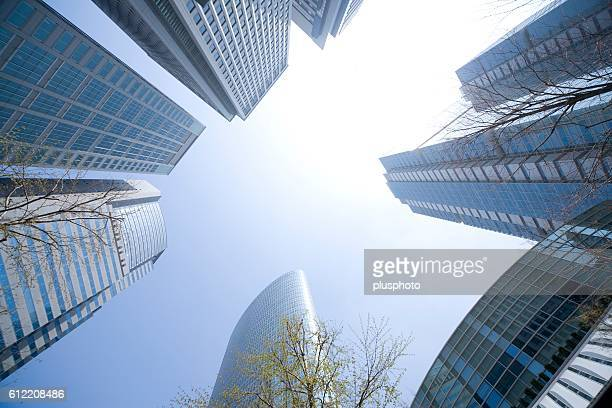 Skyscrapers With Blue Sky. Shinagawa, Tokyo, Japan