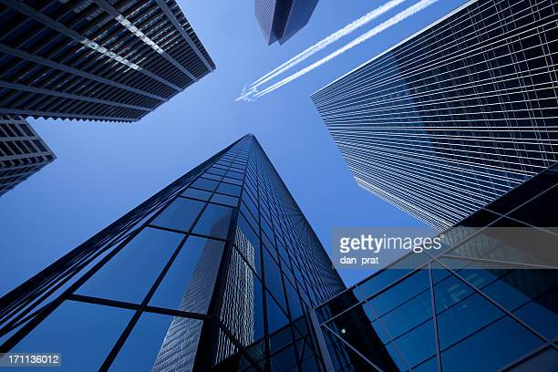 skyscrapers with jumbo jet - calgary alberta stock pictures, royalty-free photos & images