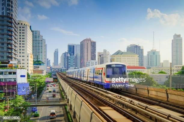 skytrain in bangkok. - bangkok province stock pictures, royalty-free photos & images