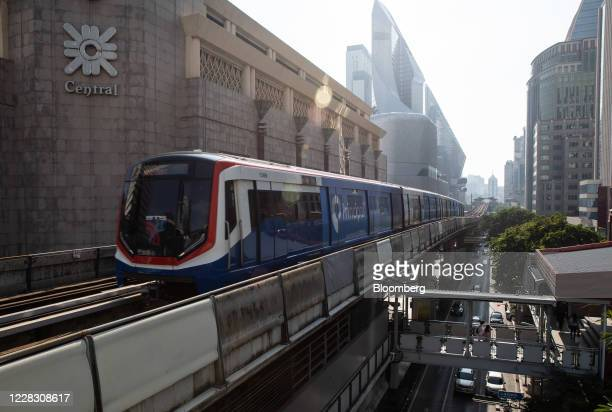 A skytrain operated by Bangkok Mass Transit System Pcl a unit of BTS Group Holdings Pcl travels along an elevated track in Bangkok Thailand on...