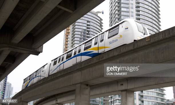 Skytrain passes near Canada Hockey Place in this photo taken February 8, 2009 in Vancouver, British Columbia. Canada Skytrain is Vancouver's light...
