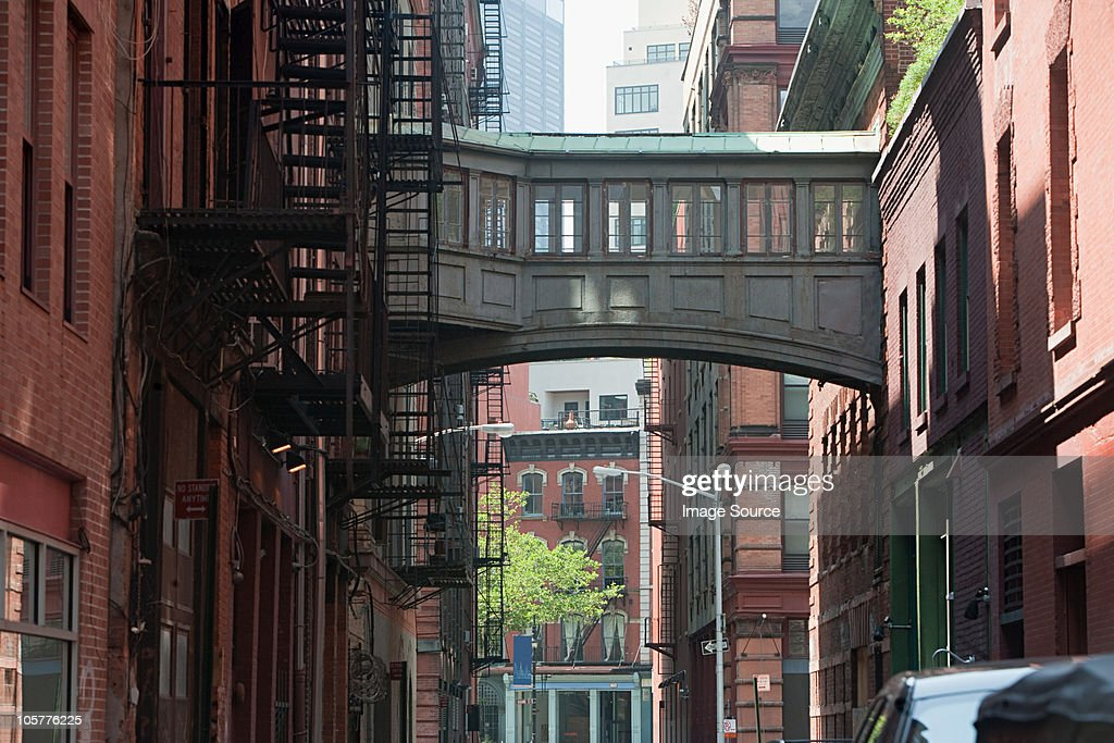 Skywalk between buildings in Tribeca, NYC : Stock Photo