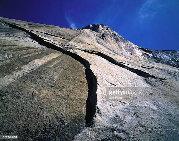 Skyward detail of El Capitan. El Capitan, Yosemite National Park, California.