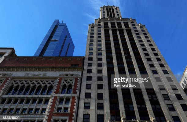 Skyward view of Chicago Athletic Association Hotel Legacy at Millennium Park and Willoughby Tower in Chicago Illinois on December 2 2017