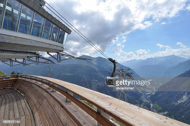 SkyWay aerial tramway in Courmayeur, Italy.
