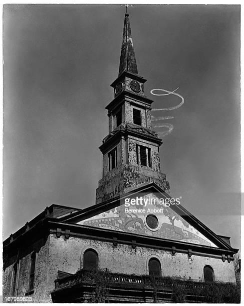 A skywriting spiral over St Marks Church New York City USA 1937