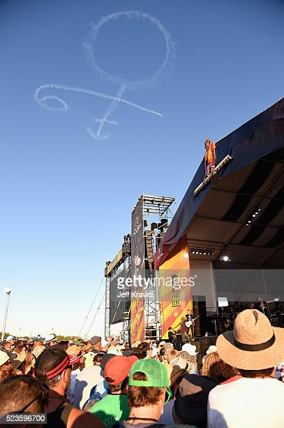 A skywritting tribute to Prince at the 2016 New Orleans Jazz Heritage Festival at Fair Grounds Race Course on April 23 2016 in New Orleans Louisiana