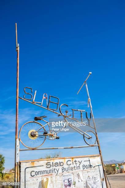 Slab city sign,Salton Sea,California,USA