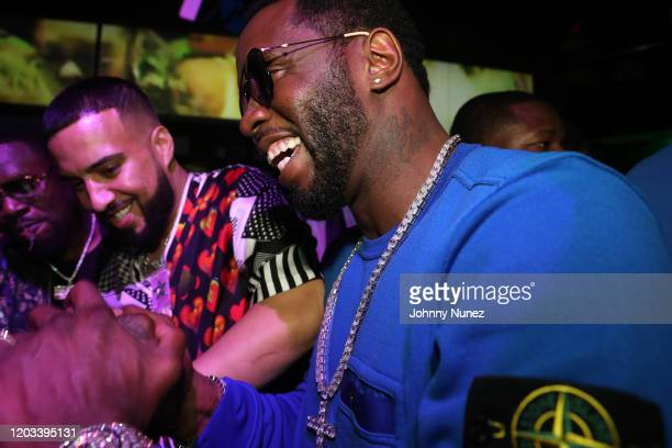 Slab French Montana and Sean Diddy Combs attend Rick Ross Diddy The Big Game Weekend 2020 at Cameo on January 31 2020 in Miami Florida