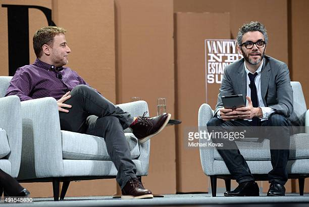 Slack Cofounder and CEO Stewart Butterfield and New York Times' Nick Bilton speak onstage during Are We About to Take a Bath Debating the Bubble Then...