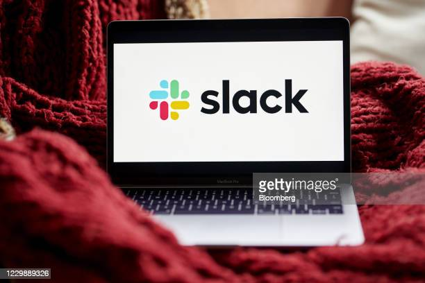 Slack signage on a laptop computer in the Brooklyn Borough of New York, U.S., on Tuesday, Dec. 1, 2020. Salesforce.com's expected purchase of Slack...