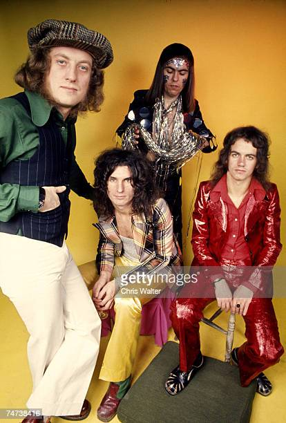 Slade 1973 Noddy Holder Don Powell Dave Hill Jimmy Lea at the Music File Photos 1970's in London United Kingdom