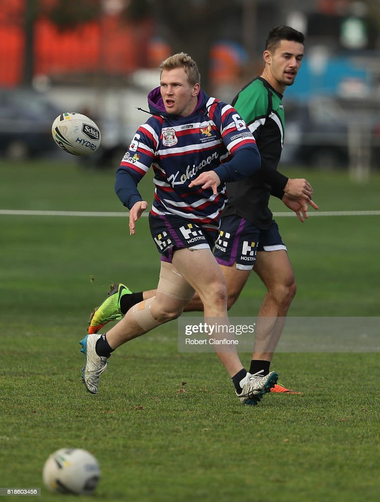 Slade Griffin of the Storm releases the ball during a Melbourne Storm NRL training session at Gosch's Paddock on July 19, 2017 in Melbourne, Australia.