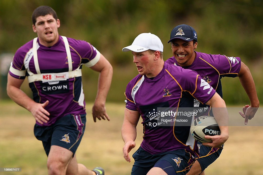 Slade Griffin runs with the ball during a Melbourne Storm NRL pre-season training session at Gosch's Paddock on November 26, 2012 in Melbourne, Australia.