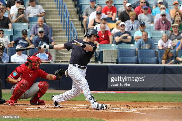 Slade Heathcott of the New York Yankees in action during the game against the Philadelphia Phillies at Steinbrenner Field on March 3 2016 in Tampa...