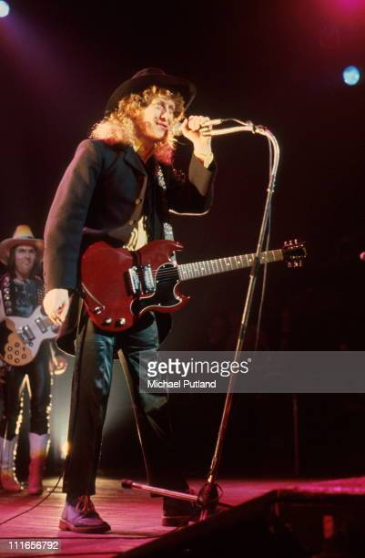 Slade perform on stage in London LR Dave Hill Noddy Holder