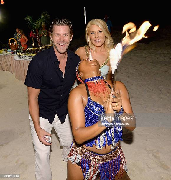 Slade Smiley and Gretchen Rossi attend the Junkanoo Beach Party Dinner during Day One of the Sandals Emerald Bay Celebrity Getaway And Golf Weekend...