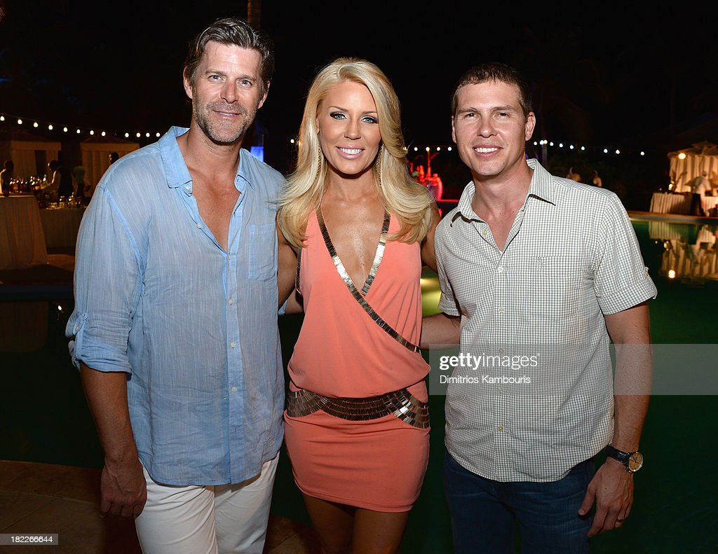 Slade Smiley, Gretchen Rossi, and Sandals Resorts International CEO Adam Stewart attend the Happy Hour Welcome Reception & Discovery Dining Dinner during Day Two of the Sandals Emerald Bay Celebrity Getaway And Golf Weekend on September 28, 2013 at Sandals Emerald Bay in Great Exuma, Bahamas.