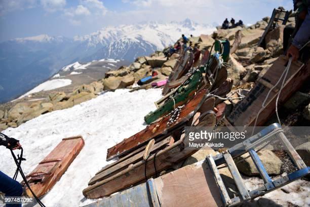 Sladge parked in Gulmarg, Kashmir