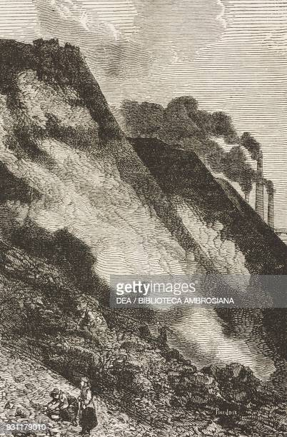 Slag heap from the Cyfarthfa workshops, United Kingdom, drawing by Jean-Baptiste Henri Durand-Brager from A visit to the great workshops of Wales by...